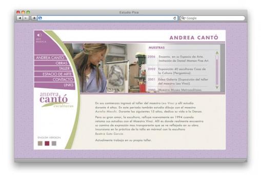 Sitio web Andrea Cantó - sección