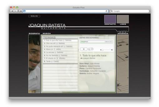 Sitio web Joaquín Batista - sección