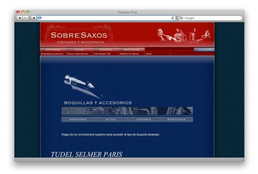 Sitio web Sobre Saxos - sección