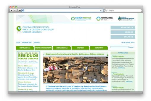 Sitio web del Observatorio Nacional para la Gestión de Residuos Sólidos Urbanos, de la Secretaría de Ambiente y Desarrollo Sustentable de la Nación.